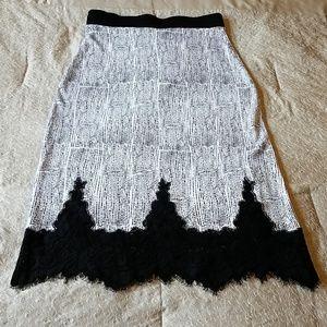 H&M Midi Black White & Lace Skirt